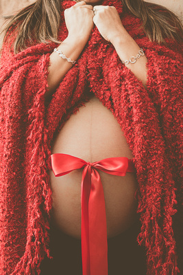 Holiday Maternity Photo in Red