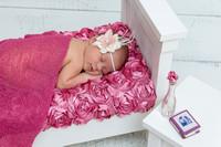Newborn Posed with Miniature Bedroom Set