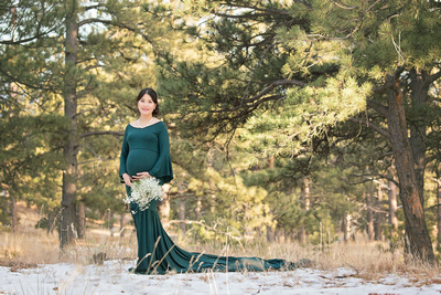 Winter Maternity Photo in Green Gown with Train