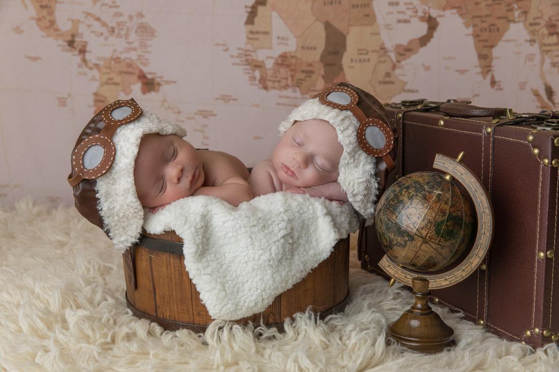 Newborn Twins Posed in Aviator Theme
