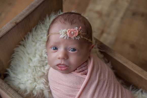 Newborn Baby Girl Wrapped with Pink Headband