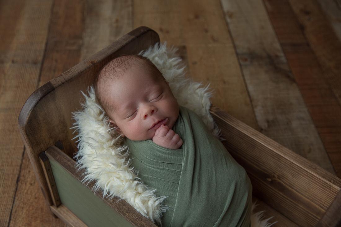 Newborn Baby Boy Wrapped in Green