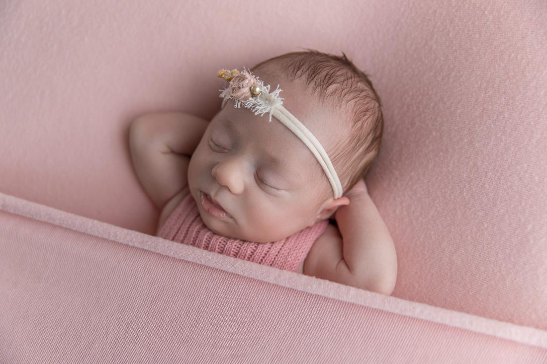 Newborn Baby Girl with Pink Blanket