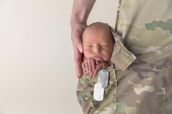 Military Newborn in Uniform Pocket