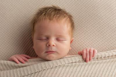Newborn Baby Boy with Blanket Captured by Aurora Colorado Photographer Donna Young