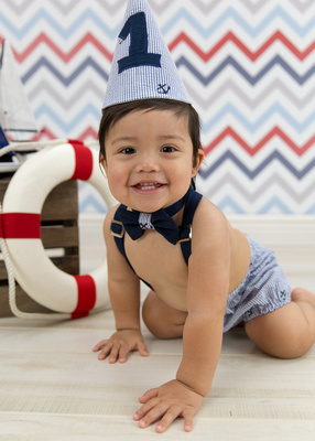 Child's Nautical Theme First Birthday Portrait Session Photo Captured by Aurora Colorado Photographer Donna Young