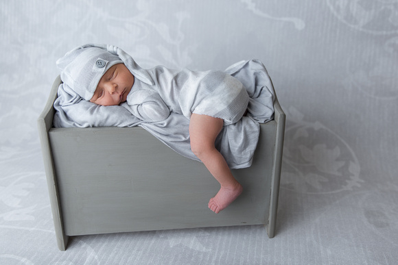 Newborn Photographed in miniature bed with grey hat and romper